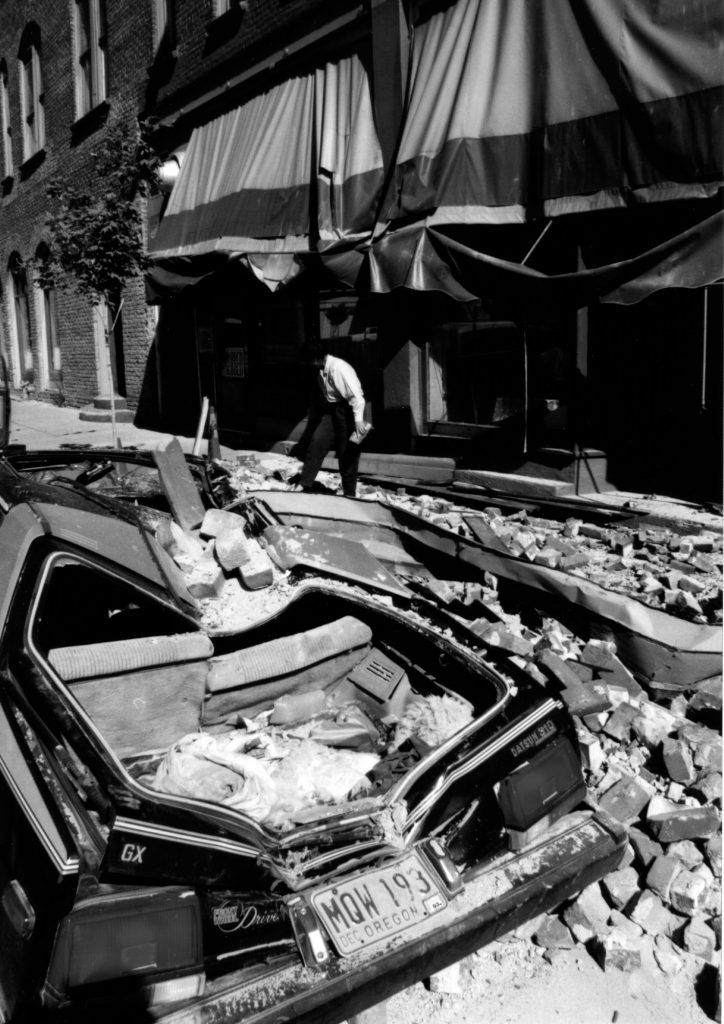 Downtown Klamath Falls, Oregon, after the earthquakes of September 20, 1993.