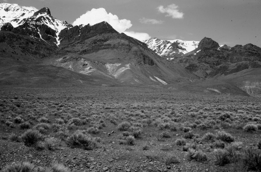 Steens Mountain in southeastern Oregon. An active fault with evidence for Holocene displacement is found at the base of Steens Mountain, separating it from the Alvord Desert in the foreground.