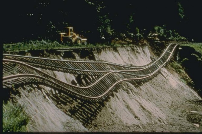 Hillside slid away from beneath this four-hundred-foot section of a Union Pacific Railway branch line at Tumwater, near Olympia, Washington, during the Puget Sound Earthquake of 1965