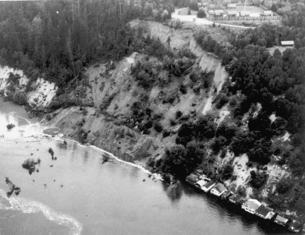 Landslide on steep bluffs overlooking Puget Sound at Salmon Beach, near Tacoma Narrows, a few days after the 1949 Puget Sound Earthquake