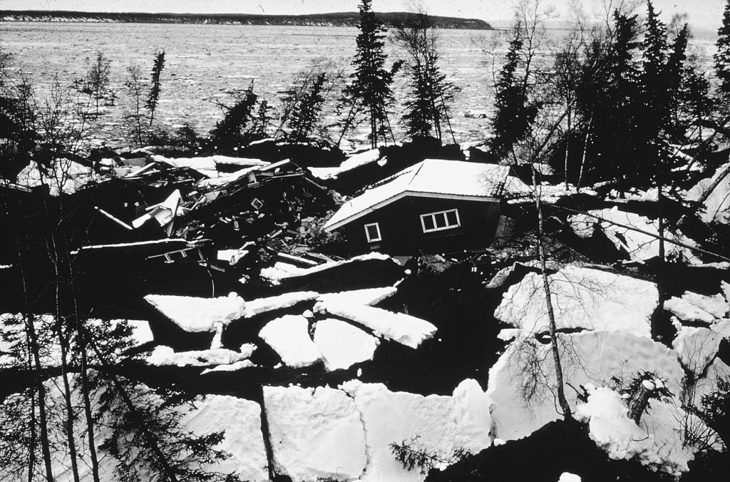 Destruction of part of Turnagain Heights subdivision of the city of Anchorage by liquefaction of a sand layer in the Bootlegger Clay accompanying the Good Friday 1964 Earthquake in the Gulf of Alaska.