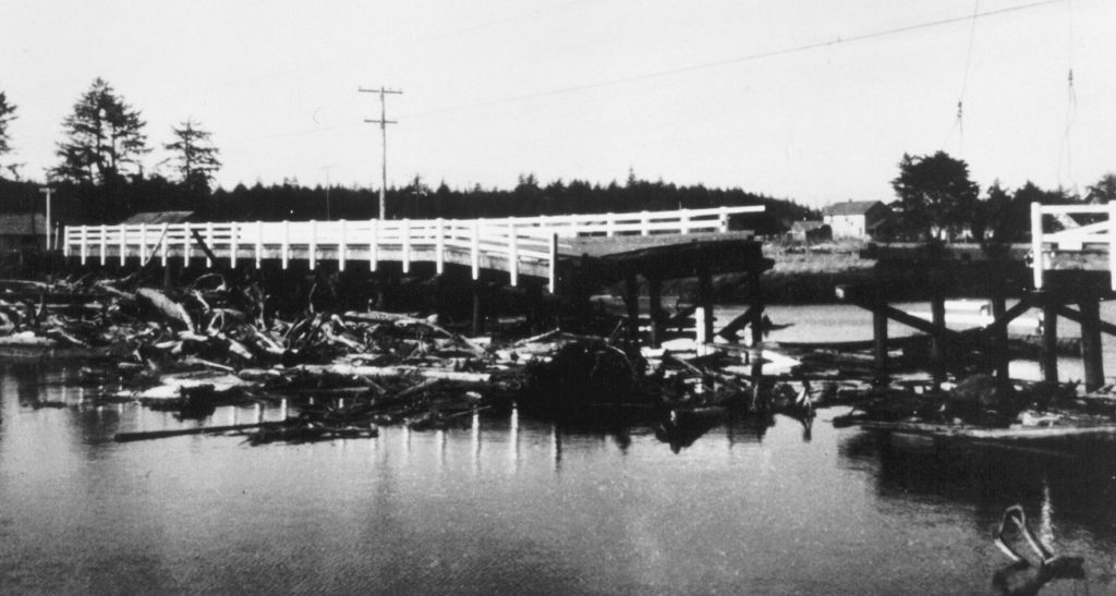 Bridge across Copalis River, Washington, destroyed during the tsunami accompanying the 1964 Good Friday Earthquake in southern Alaska.