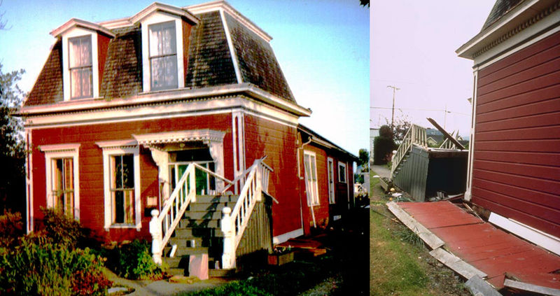 This Victorian wood-frame house in Ferndale, California, was built on a post-and-pier foundation, but was not bolted to its foundation, so that it slid off during the 1992 Cape Mendocino Earthquake.