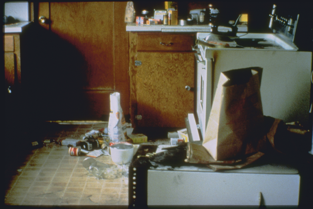 Damage to contents of the kitchen in a residence in Petrolia, California, as a result of the 1992 Cape Mendocino Earthquake.