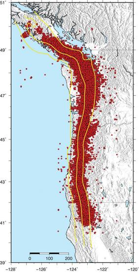Epicenters of episodic tremor and slip from 2006 to 2009 in Cascadia, from Aaron Wech, University of Washington, and the IRIS (Incorporated Research Institutions for Seismology) Image Gallery. Yellow contours are at 20, 30, and 40 km depth on the subduction zone.