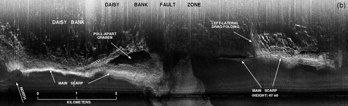 Sidescan sonar image of Daisy Bank strike-slip fault west of Newport