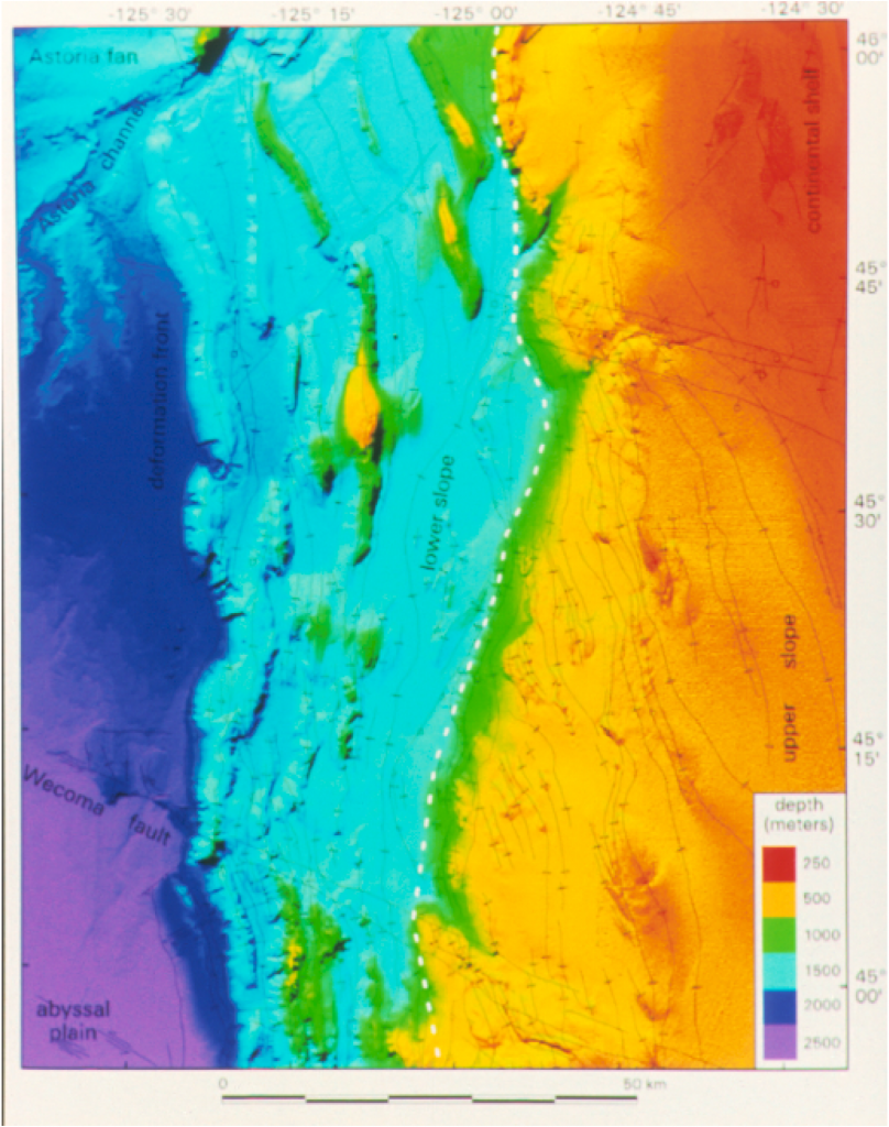 Computer-generated sea-floor image of the Oregon continental slope west of Seaside and Cannon Beach, based on sea floor topographic mapping by the National Oceanic and Atmospheric Administration