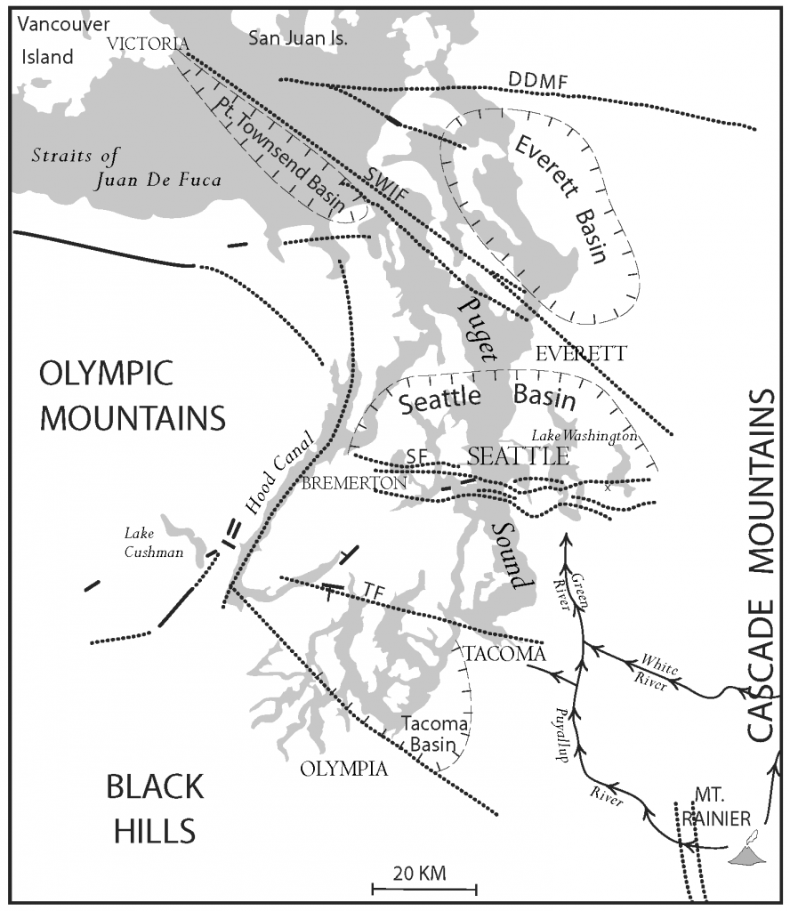Quaternary faults of western Washington (heavy dashed lines).