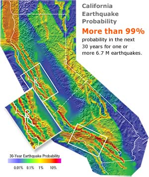 California 30-year earthquake probability expressed as colors, with red color indicating greater than 10% and blue indicating