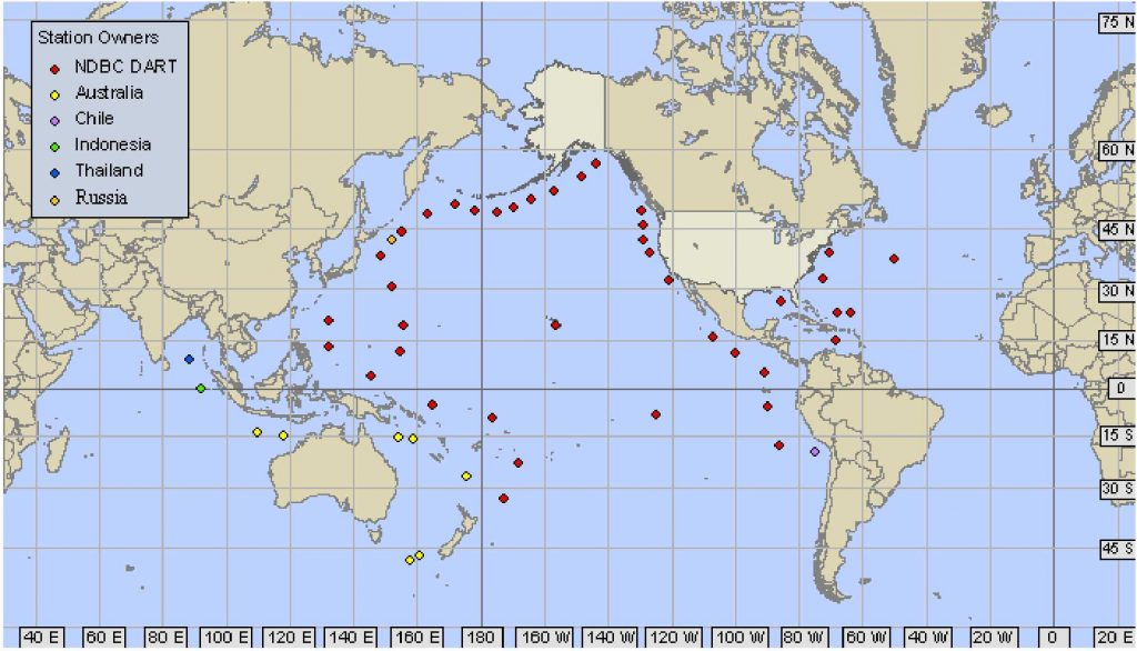 Distribution of DART buoys in Pacific Ocean at time of Tohoku-oki Earthquake in northeast Japan.