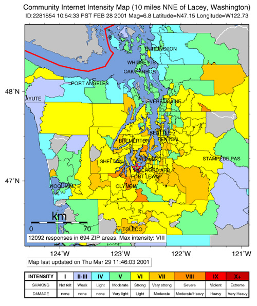 Community Internet Intensity map (CIIM) for the 2001 Nisqually Earthquake
