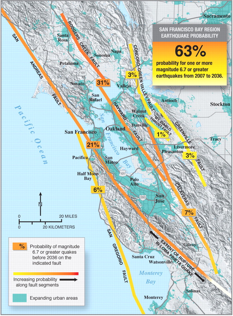 Replace with color map and replace caption as follows: Thirty-year probability of an earthquake of M 6.7 or larger in the San Francisco Bay Area during the period 2007-2036. The probability that one of the Bay Area faults will produce an earthquake this large or larger is 63%, or about two chances out of three.
