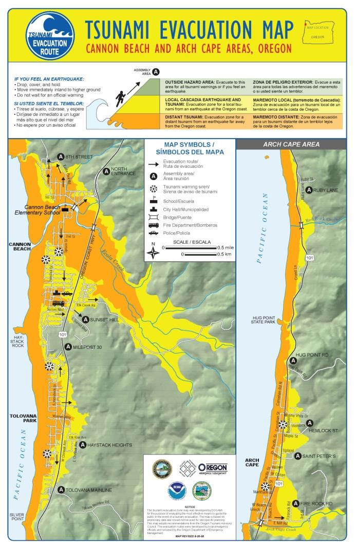 Tsunami inundation map of Cannon Beach and Arch Cape, Oregon
