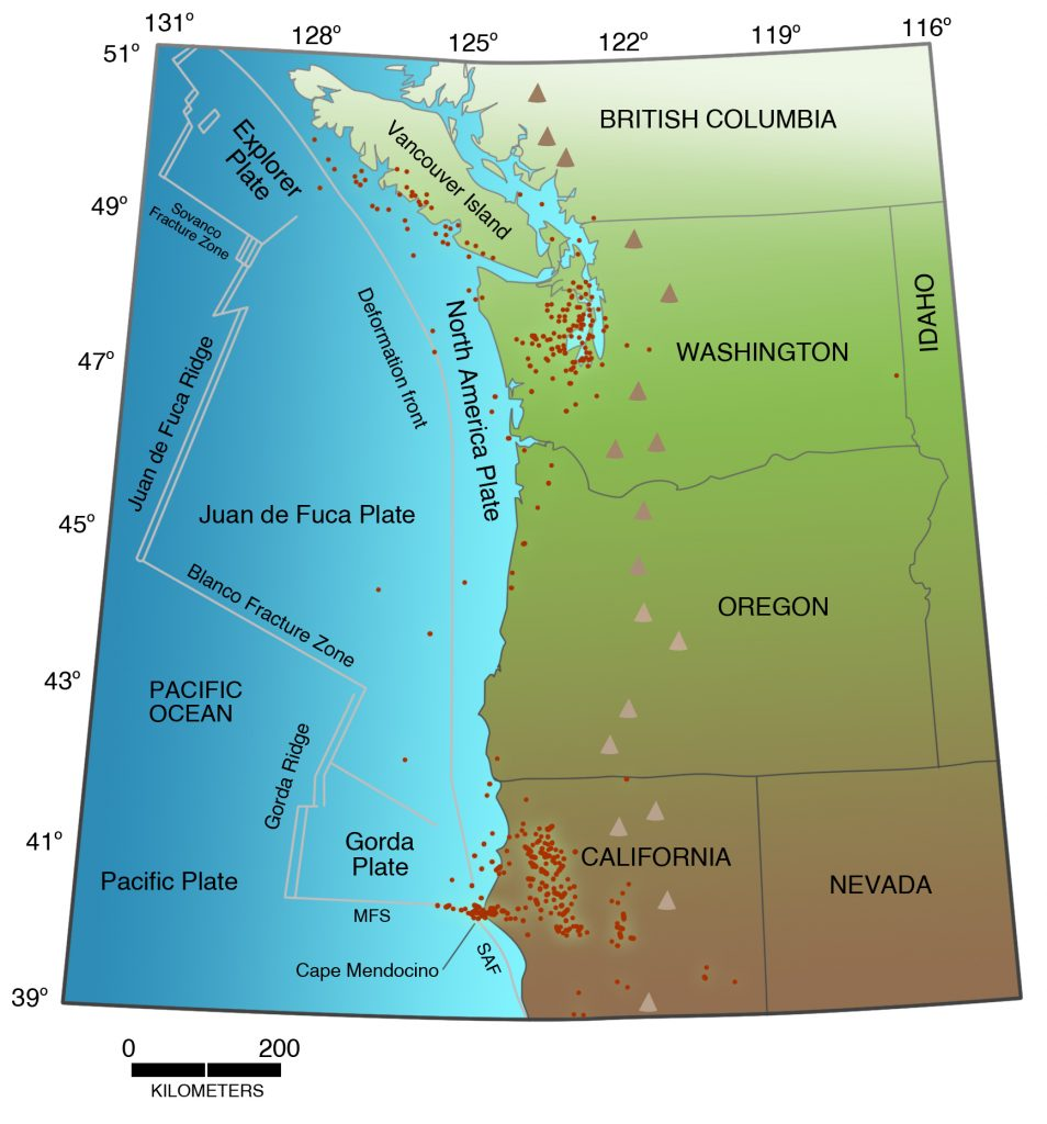 Distribution of earthquakes deeper than 16 miles in the Pacific Northwest