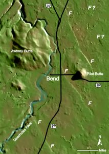 Computer-generated topographic map of Bend, Oregon, region showing young faults (linear features marked F)
