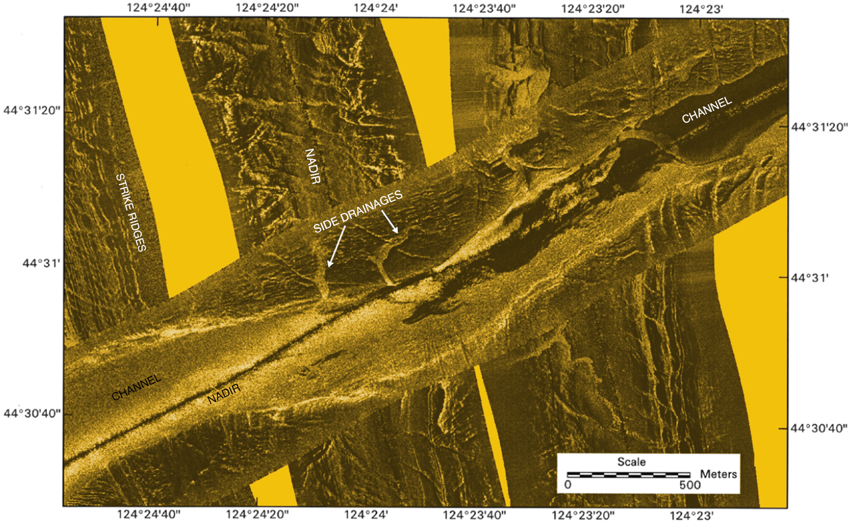 Sidescan sonar image of a river channel crossing Stonewall Bank, southwest of Newport, now covered with two hundred feet of sea water
