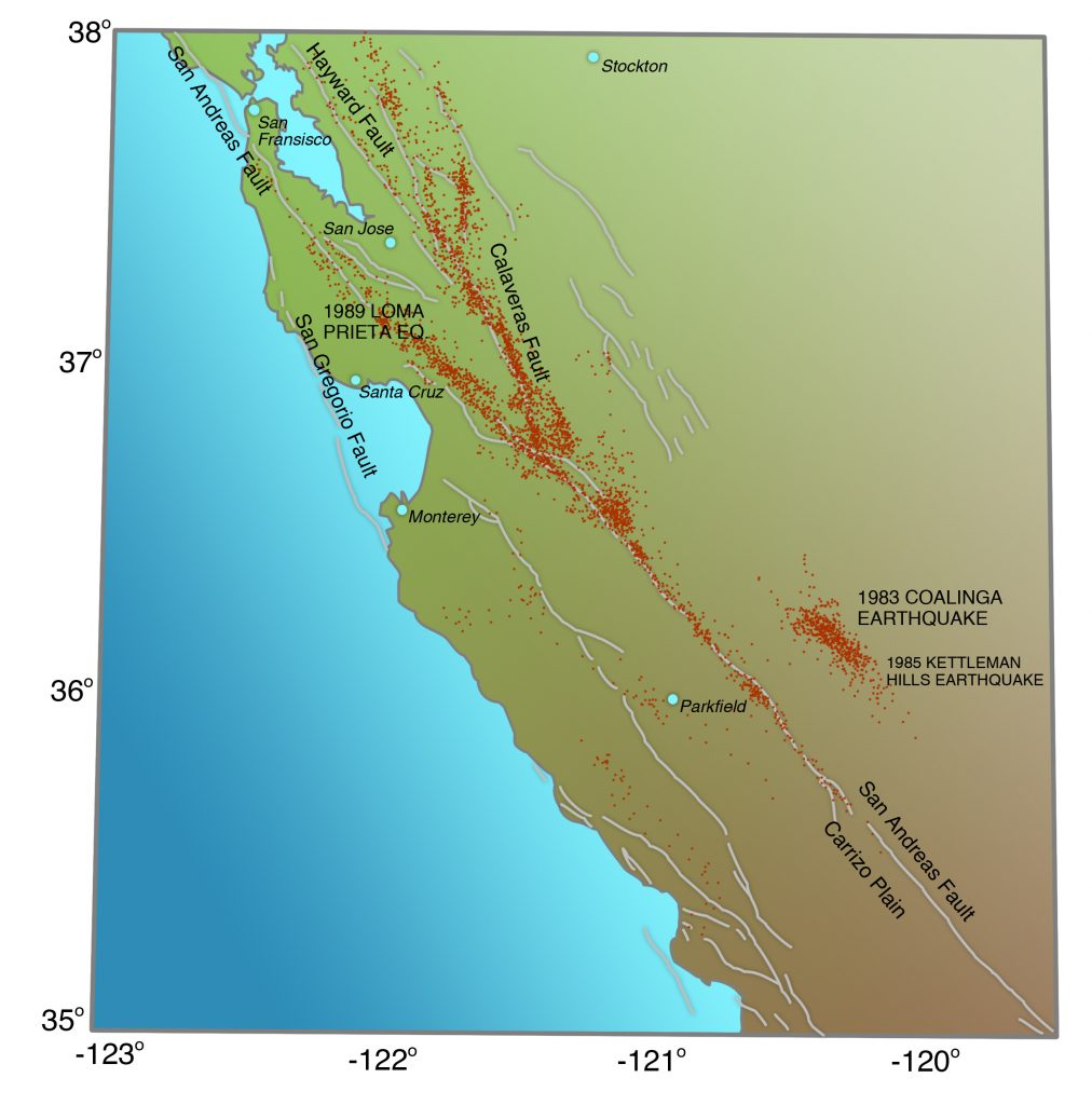 Seismicity of central California, 1980-1986, to compare the seismicity of that part of the San Andreas Fault that ruptured in 1857 (southeast, or lower right corner), which does not image the fault at all, to the seismicity of that part of the San Andreas Fault that ruptures frequently, as at Parkfield, or creeps accompanied by very small earthquakes, which images the fault very well