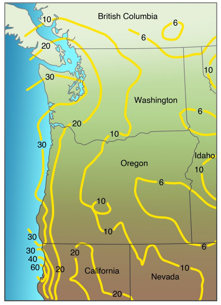 Map of the Pacific Northwest showing earthquake horizontal accelerations having a 10 percent probability of being exceeded in fifty years for a firm rock site (Soil Class B site in Canada).
