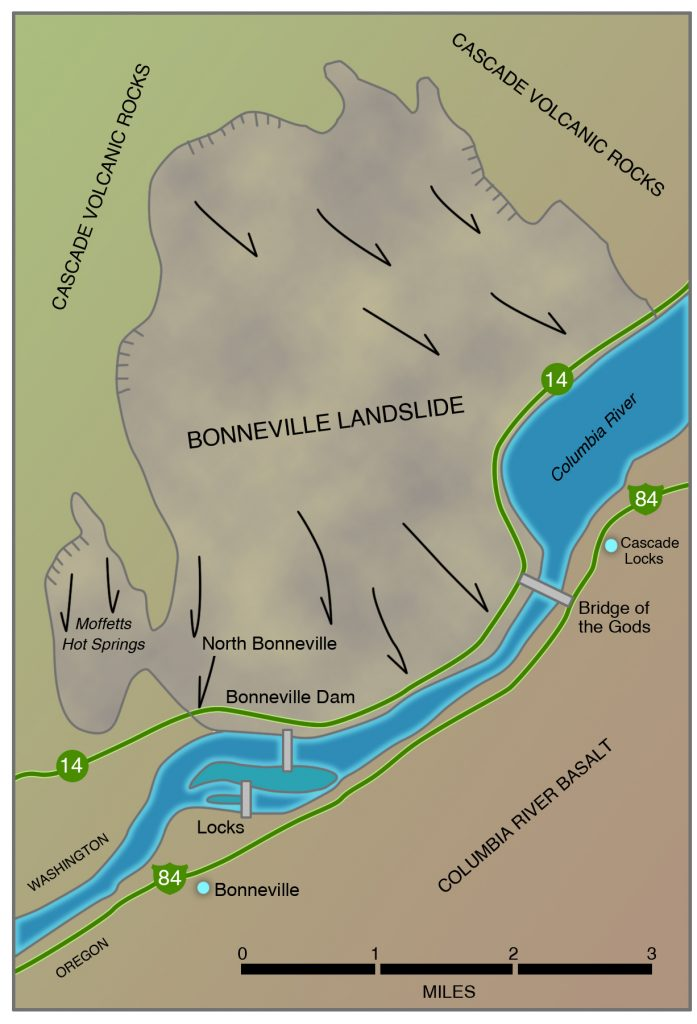 Map of the Bonneville landslide (shaded) in the Columbia River Gorge at Cascade Locks.