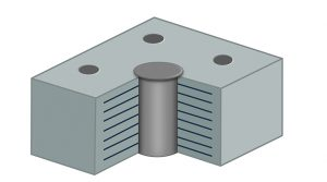 Base-isolation bearing. Alternating laminations of rubber and steel with a lead plug in the middle