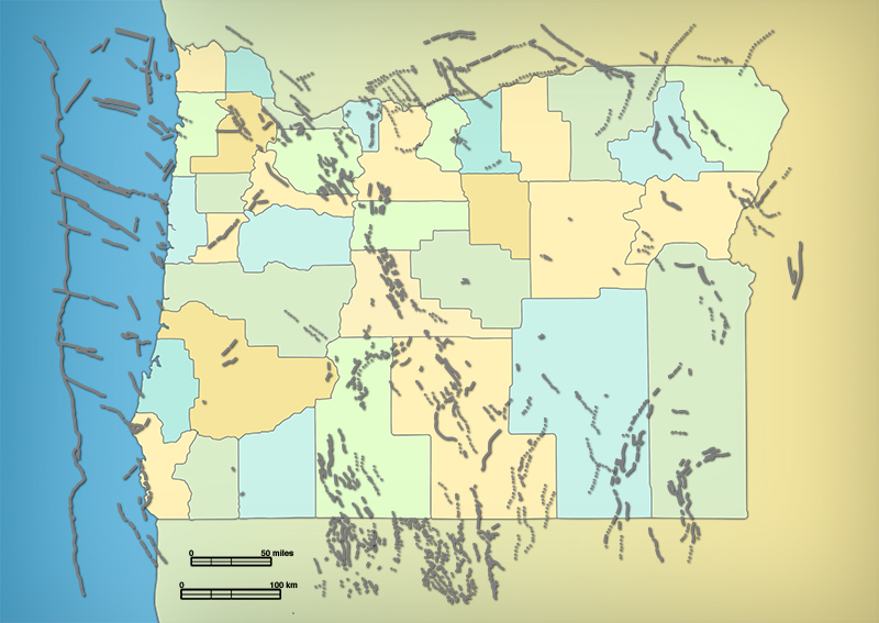 Map showing recent faults in Oregon, adjacent states, and the offshore region
