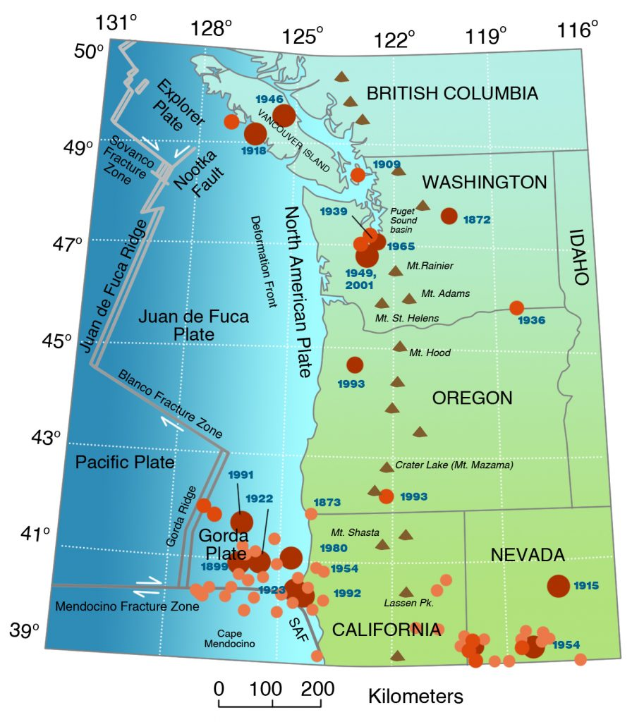 Plate tectonics of the Pacific Northwest