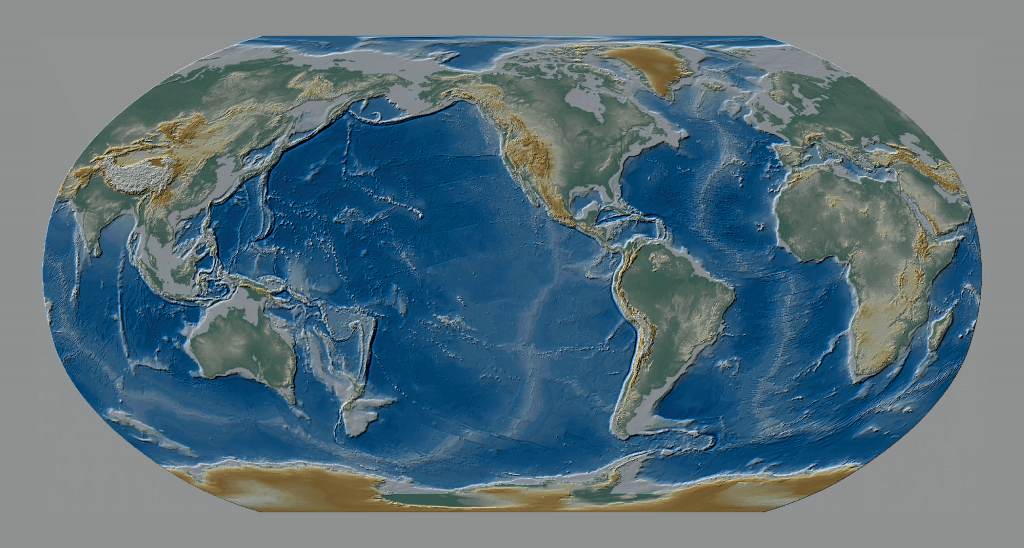 World map with oceans removed