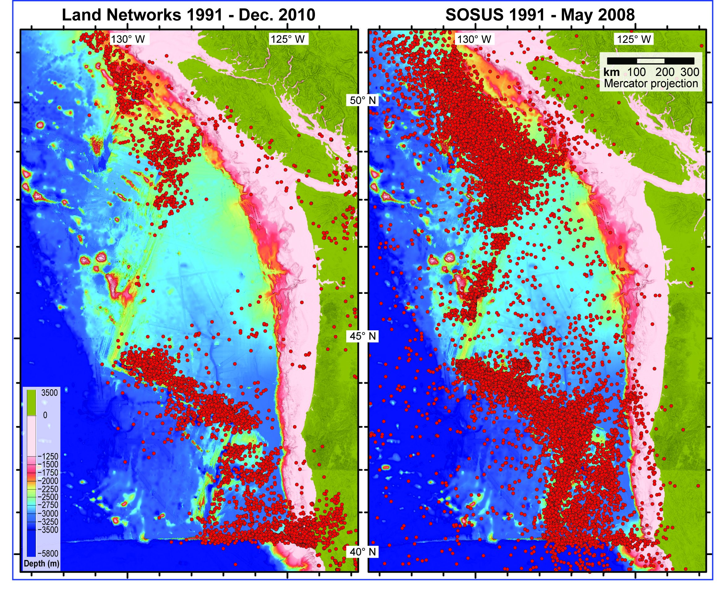 Seismicity of the offshore Pacific Northwest and Vancouver Island based on land networks of seismographs (left) and a highly-sensitive hydrophone array (Sound Surveillance System, or SOSUS) that transmits sound through the water column (right)