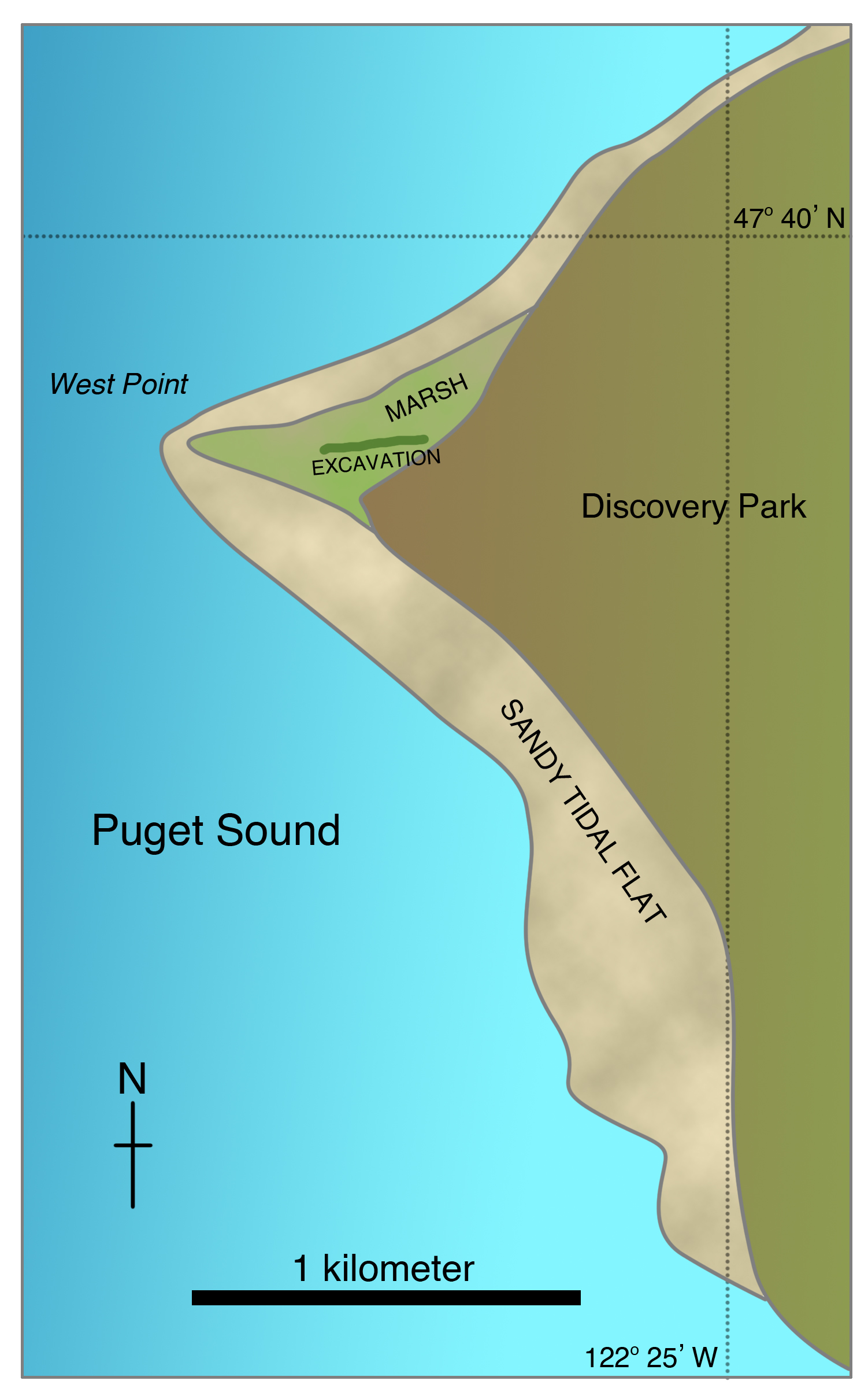 Map of West Point area of Magnolia Bluff, Seattle, locating excavation depicted in Figure 6-6b (heavy line)