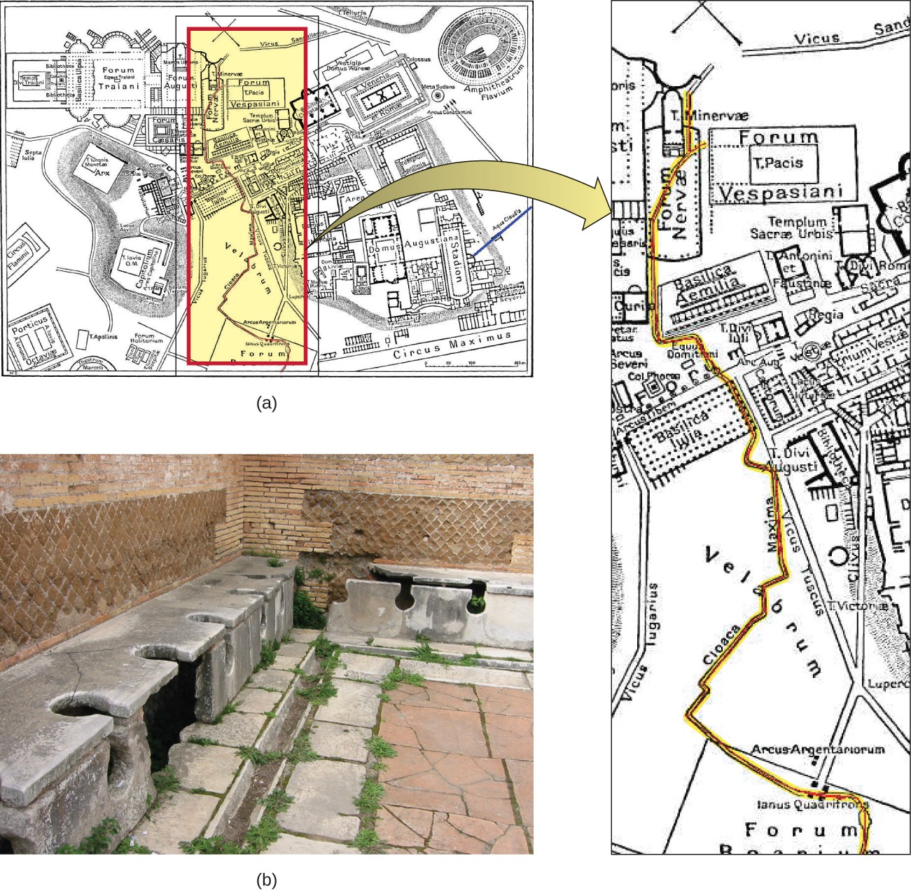 "(a) The Cloaca Maxima, or ""Greatest Sewer"" (shown in red), ran through ancient Rome. It was an engineering marvel that carried waste away from the city and into the river Tiber. (b) These ancient latrines emptied into the Cloaca Maxima."