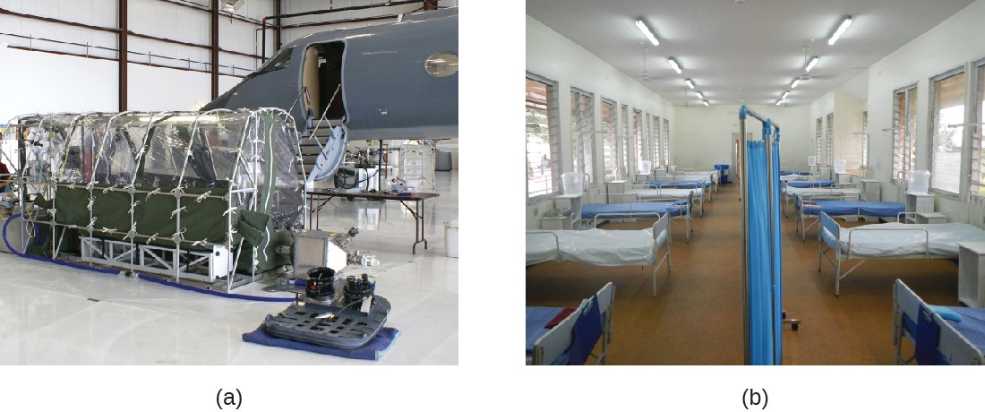 (a) The Aeromedical Biological Containment System (ABCS) is a module designed by the CDC and Department of Defense specifically for transporting highly contagious patients by air. (b) An isolation ward for Ebola patients in Lagos, Nigeria.