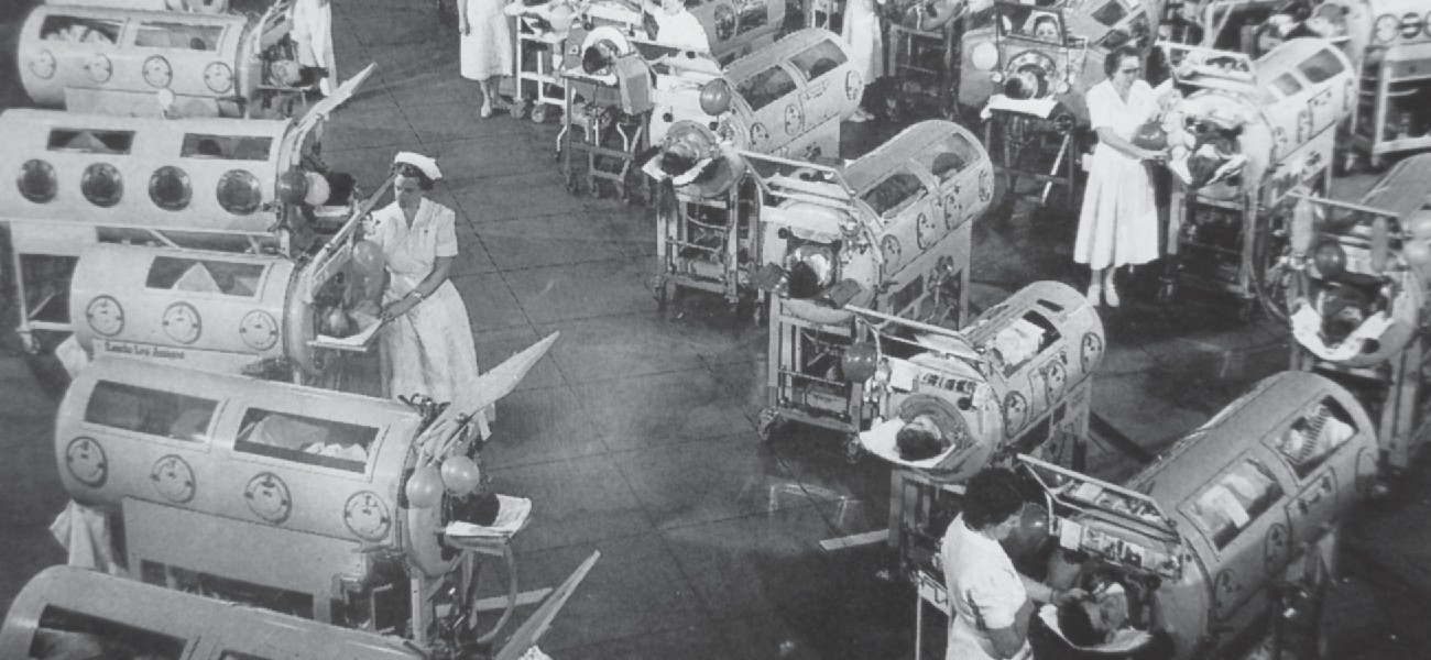 Polio was once a common disease with potentially serious consequences, including paralysis. Vaccination has all but eliminated the disease from most countries around the world. An iron-lung ward, such as the one shown in this 1953 photograph, housed patients paralyzed from polio and unable to breathe for themselves.